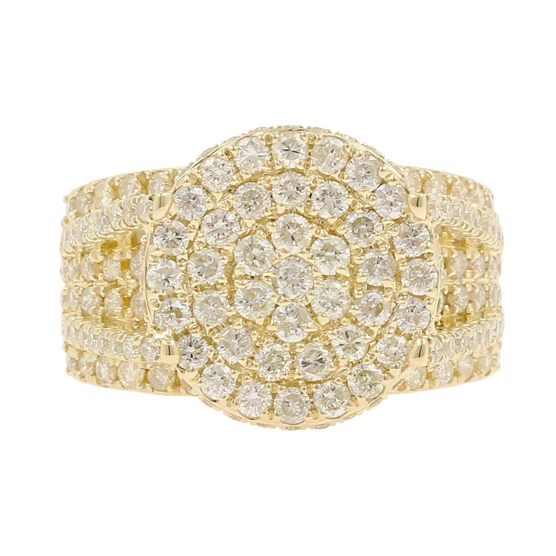 5.15 Carat 10kt Yellow Gold Diamond Cluster Men's Statement Pinky Ring