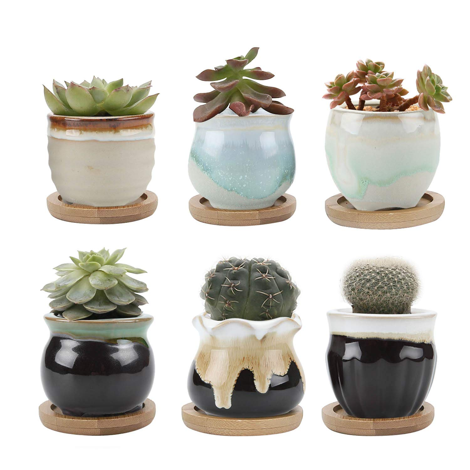 T4U 2.5 Inch Ceramic Succulent Pot,Cactus Planter Pot Plant Container Flower Pot Flowing Glaze Black&White with Bamboo Trays Serial for Pack of 6 for Gardener Perfect Gift for Wedding, Birthday