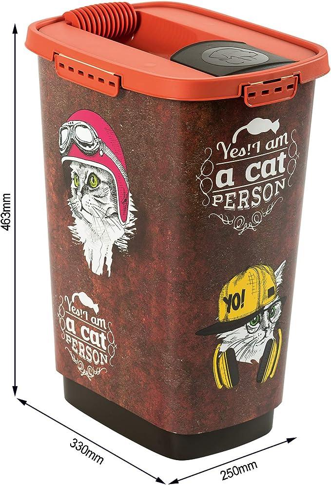 Rotho Cody, Recipiente de comida para mascotas de 25 litros con tapa y vertedor, Plástico PP sin BPA, marrón, naranja, 25l 33.0 x 25.0 x 46.3 cm: Amazon.es: Productos para mascotas