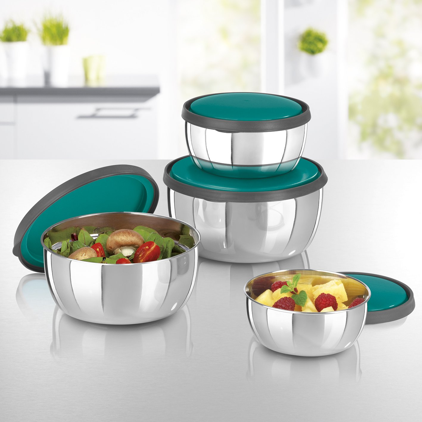 Gourmetmaxx 01807 Stainless Steel Food Storage Container Set, 8 Pieces -