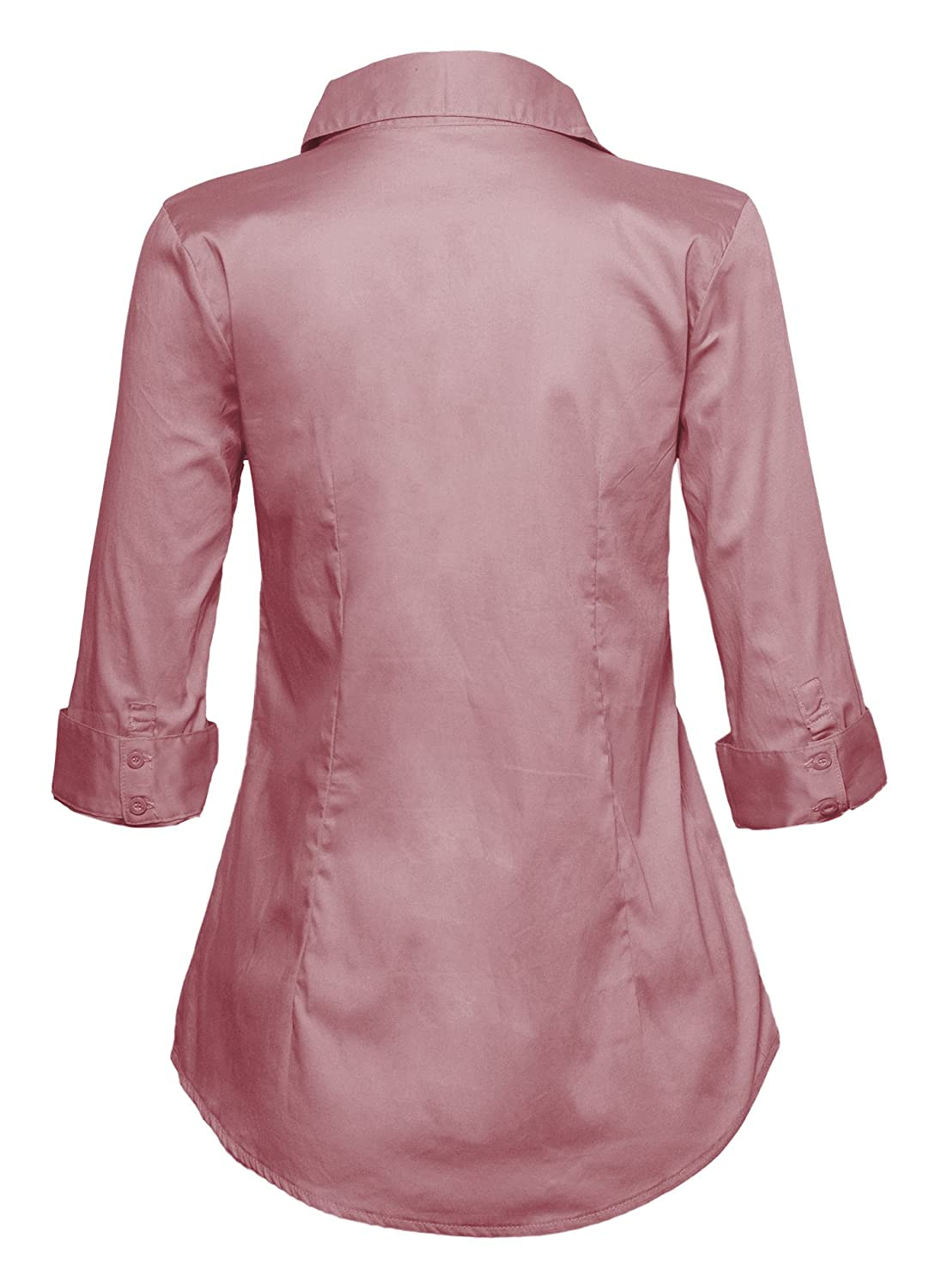 5da87d1b0bf9 Le3no Womens Tailored Long Sleeve Button Down Shirt With Stretch ...