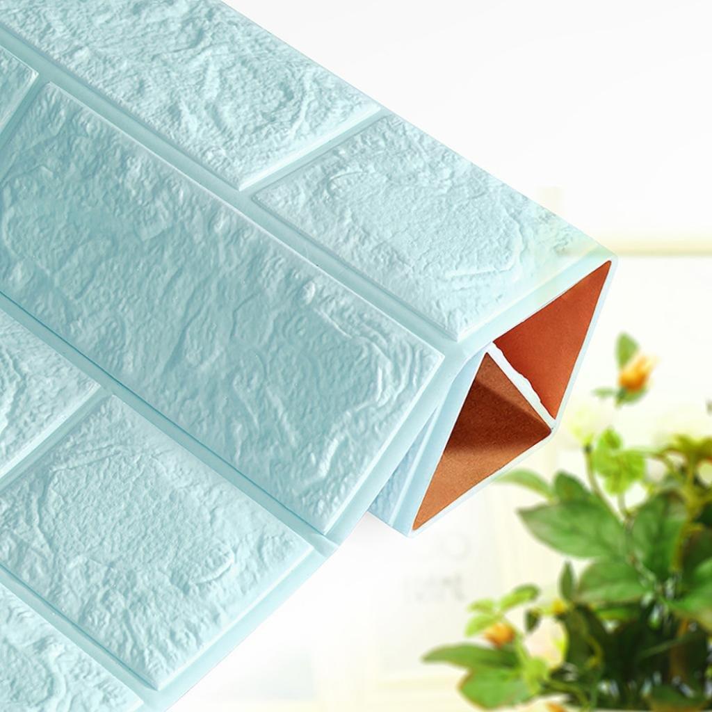 Light Blue Wall Stickers,Leewos DIY 3D Brick Wall Stickers PE Foam Wallpaper Panels Room Decal Stone Decoration 70x38.5cm