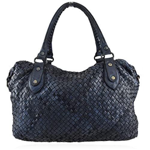 3a623fb46a ZETA SHOES Borsa Donna Tracolla in Vera Pelle Intrecciata Vintage Cuoio Blu  MainApps: MainApps: Amazon.it: Scarpe e borse