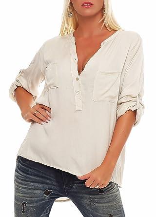 Malito Damen Bluse mit Knopfleiste   Tunika mit ¾ Armen   Blusenshirt auch  Langarm tragbar   4baf76685a