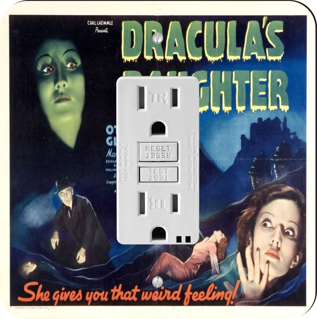 Rikki Knight 3706 Vintage Movie Posters Art Dracula's Daughter 2 Design Light Switch Plate