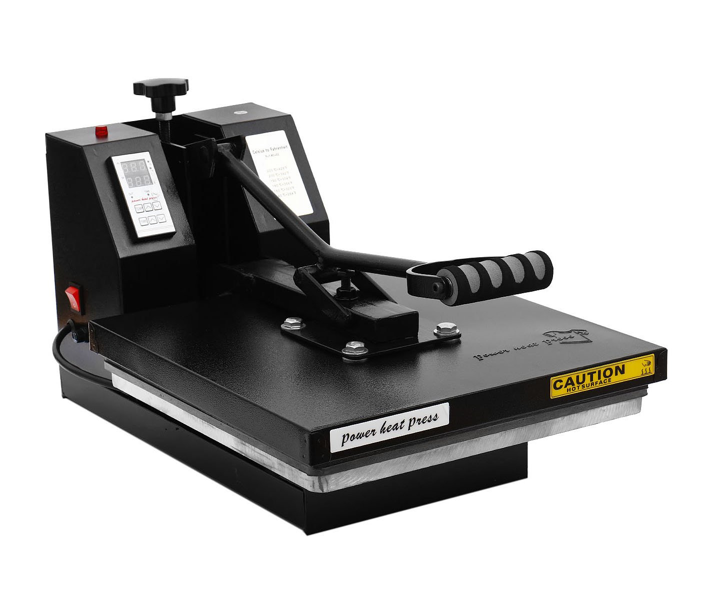 "PowerPress Industrial-Quality Digital Sublimation T-Shirt Heat Press Machine, 15""x15"", Black"