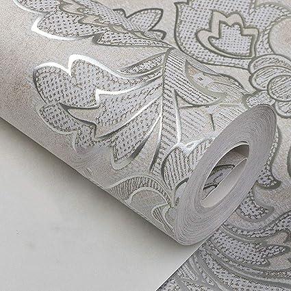 Modern Luxury Damascus Wallpaper Sheet Metal Master Bedroom