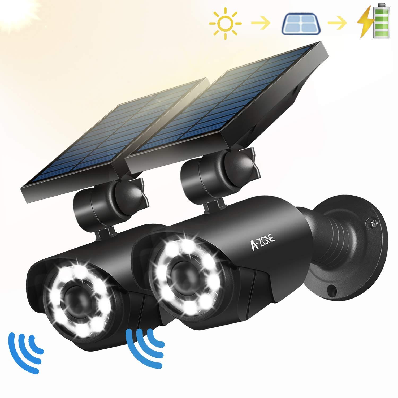 Solar Motion Sensor Light Outdoor - 800Lumens 8 LED Spotlight 5-Watt Solar Lights Outdoor IP66 Waterproof, Wireless Solar Flood Light for Porch Garden Patio Driveway Pathway,Aluminum,Pack of 2 (black) by A-ZONE