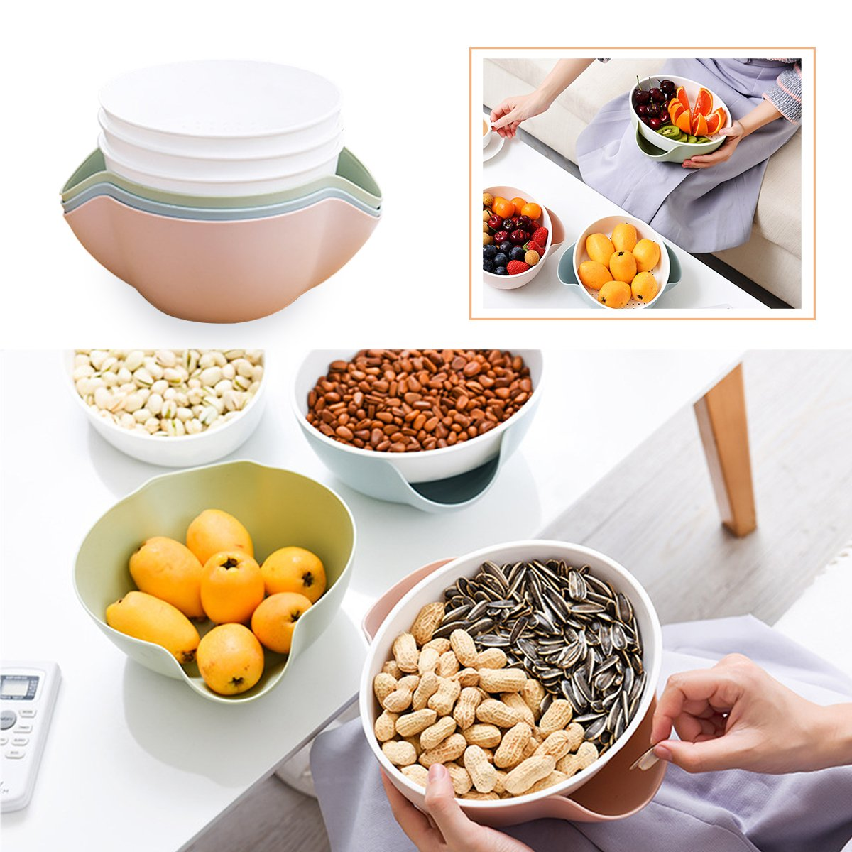 Mochiglory Creative Plastic Double Disc Fruit Tray Snacks Fruit Plate Modern Living Room Simple Household Drain Basin Colander and Bowl Set