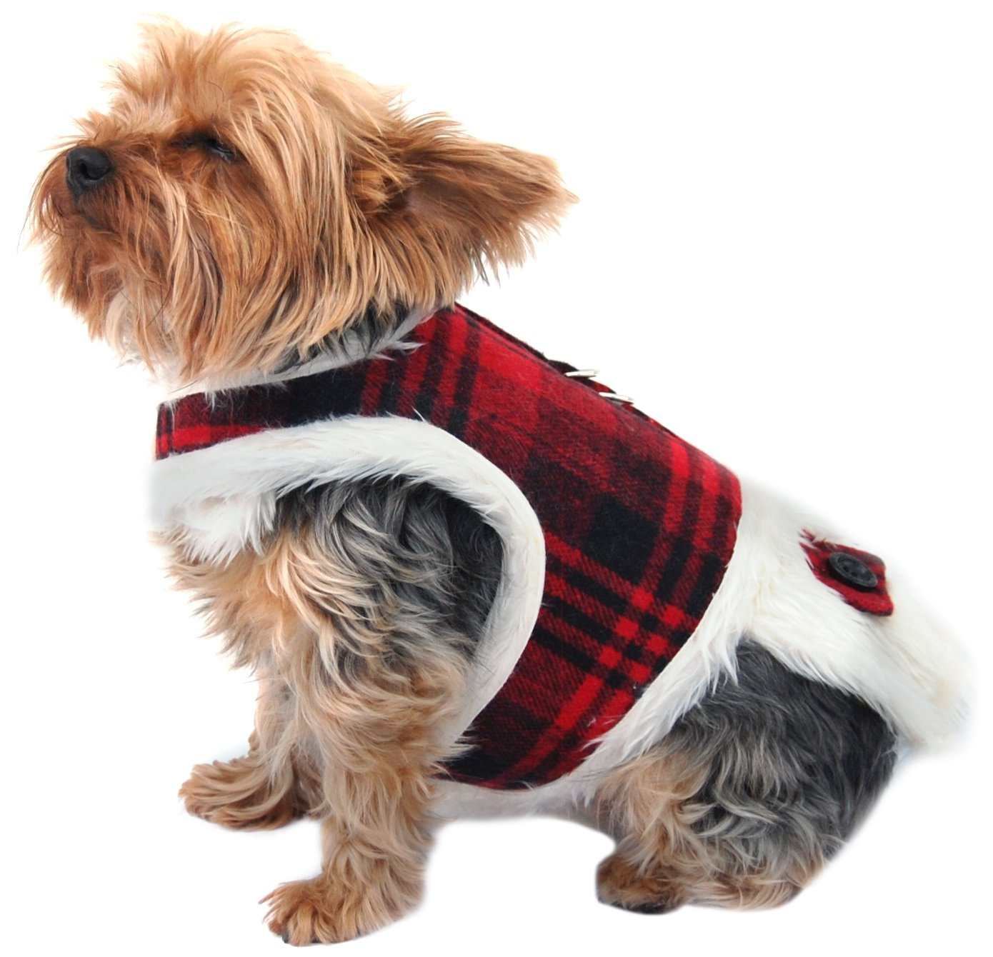 Anima Red Plaid Fur Lined Winter Harness Dress, Large