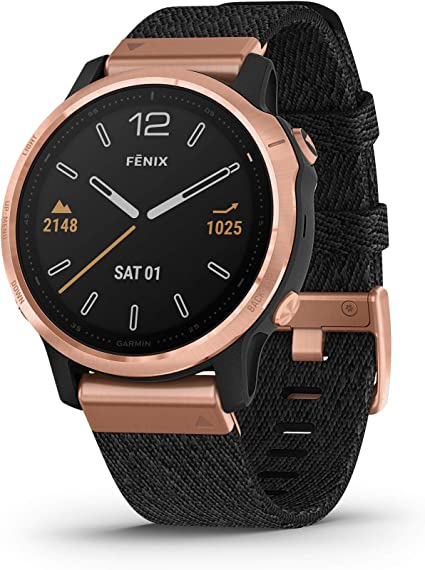 Garmin Fenix 6S Sapphire, Premium Multisport GPS Watch, Smaller-Sized, features Mapping, Music, Grade-Adjusted Pace Guidance and Pulse Ox Sensors, ...