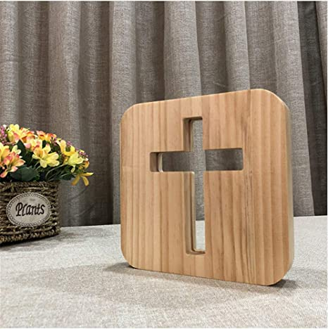 Christian Gifts 3D Cross Shadow LED Luz de noche de madera ...