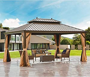 MELLCOM Hardtop Gazebo 12' X 16' Galvanized Steel Outdoor Gazebo Canopy Double Vented Roof Pergolas Aluminum Frame with Netting and Curtains for Garden,Patio,Lawns,Parties
