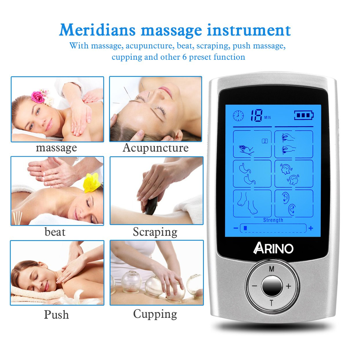 ARINO TENS Unit Muscle Stimulator Massage Unit Electronic Pulse Massager Electrodes Pain Relief FDA Cleared 16 Modes Rechargeable