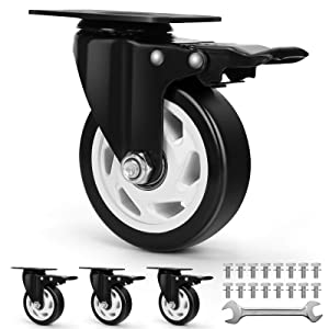 Workbench Casters – Heavy Duty Casters Set of 4 with Brake – 4-inch Swivel Casters for Furniture Pieces – Noiseless Industrial Casters with Polyurethane Rubber Coating – 1200 Lbs Total Capacity