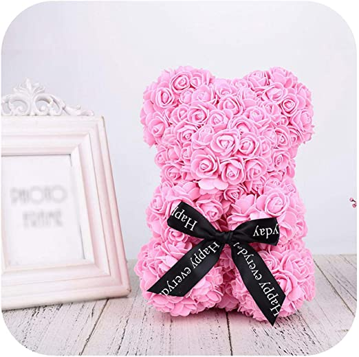 "Handmade Teddy foamy  Rose 25 cm"" Ivory Whit Box USA Shipping"