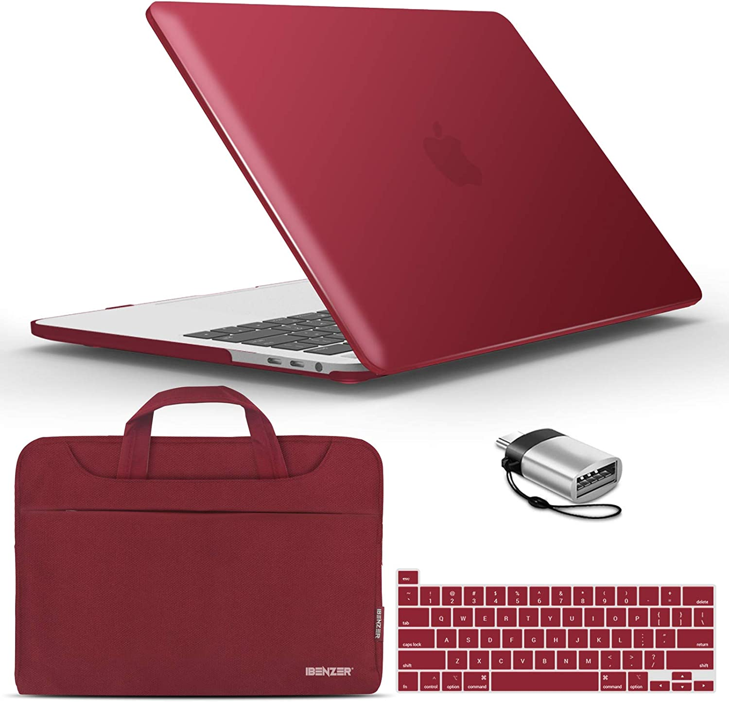 IBENZER New 2020 MacBook Pro 13 Inch Case M1 A2338 A2289 A2251 A2159 A1989 A1706 A1708, Hard Shell Case&Bag&Keyboard Cover&Type C for Apple Pro 13 with Touch Bar (2020-2016), Wine Red, T13-WR+3