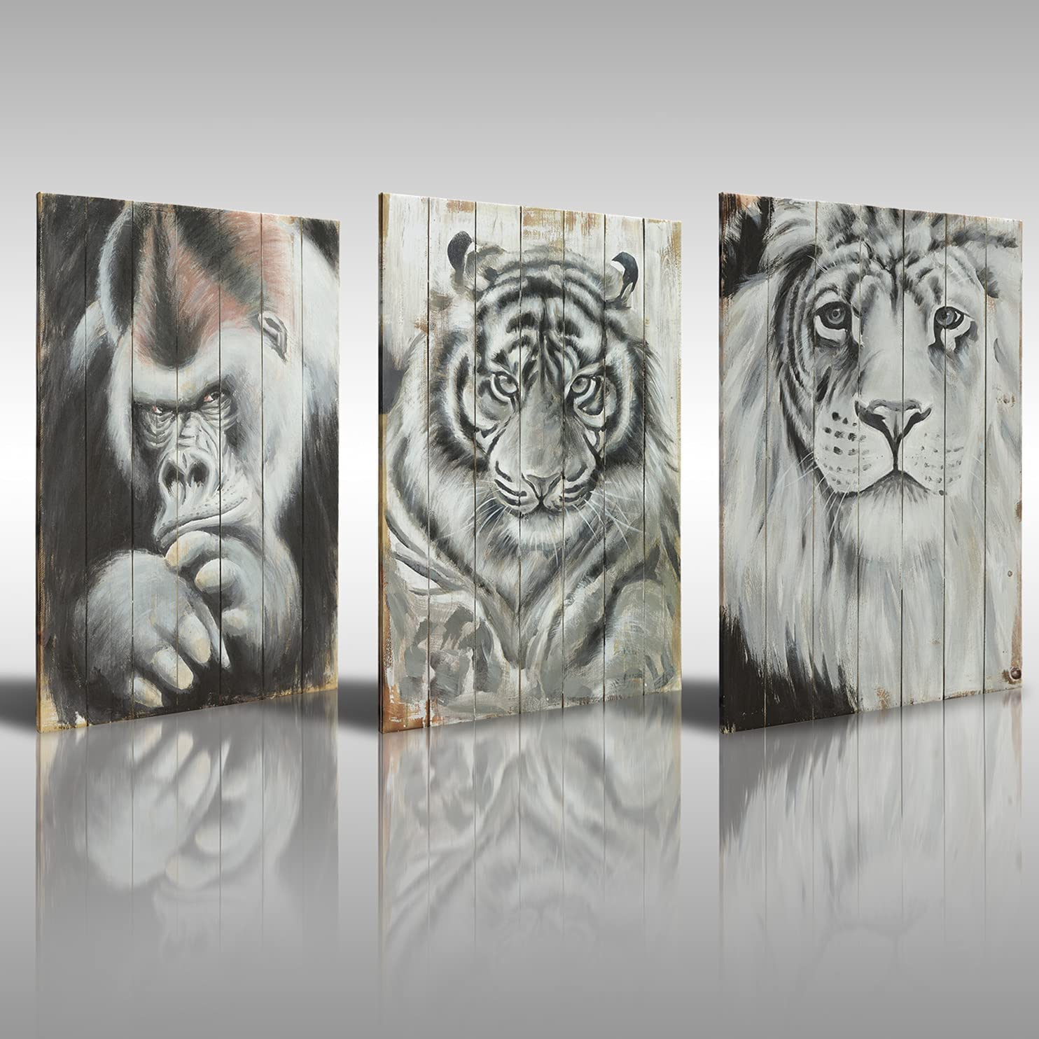 Kitchen Decor Canvas Wall Art Tiger Lion Orangutan Pictures Large Framed Wall Decor Pattern Prints for Living Room Kitchen Bathroom Dining Room Restroom Office Decorations (16x24x3)
