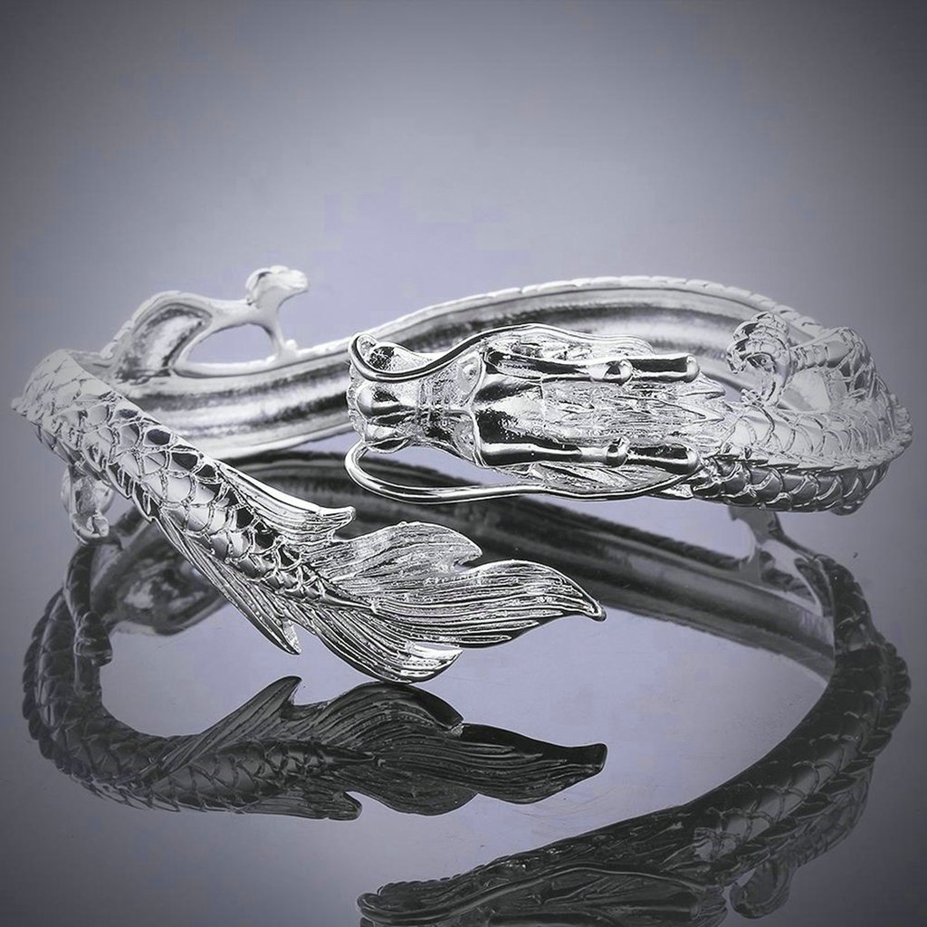 KnSam Women Silver Plate Bangle Bracelets Dragon Silver Novelty Bracelet