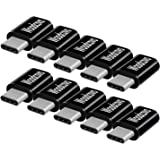 Micro USB to USB C Adapter 10 Pack Aluminum Woodcovo Converter Micro USB to Type C USB Adapter Data Syncing and Charging Converter for Samsung,MacBook,ChromeBook Pixel,Nexus