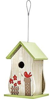 Nistkasten Farbenfrohe Vogelvilla Grau-Rot aus Echtholz h/ängend Vogelhaus Verschiedene Modelle -
