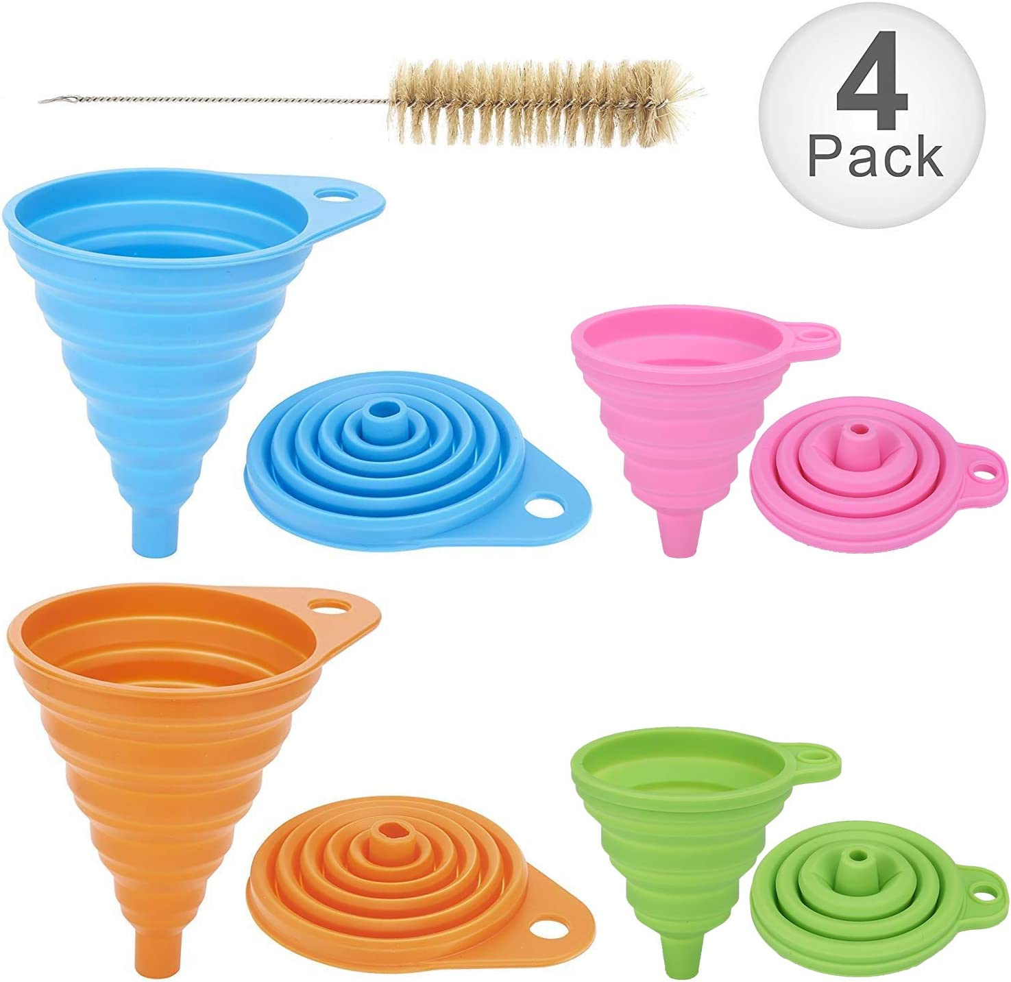 Collapsible Funnel Set of 4 with Bottle Brush, Flexible Silicone Foldable Kitchen Funnel for Liquid/Powder Transfer,100% Food Grade Silicone FDA Approved Silicone Funnel (Large+Small)