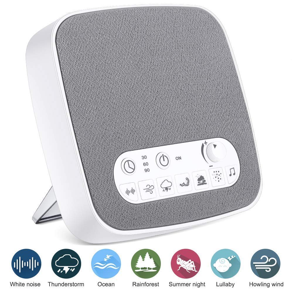 Onvian White Noise Machine, Sleep Relax Therapy Sound Machine with 7 Soothing Nature Sounds, Build-in Sleep Timer Headphone Jack and USB Output Charger