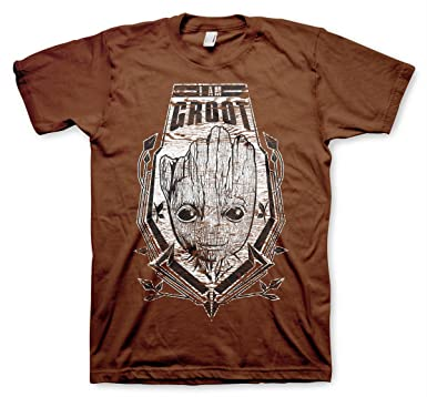 Guardians Of The Galaxy Officially Licensed The Groot Distressed Shield T- Shirt (Brown)