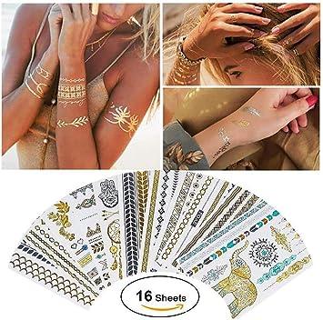 19.9 Tienda China 16 Hojas De Tatuajes Metálicos Impermeables ...