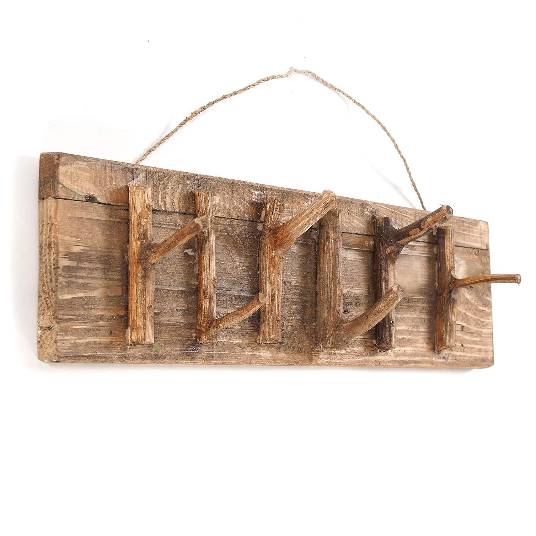 con Rami 60 x 14 x 11 cm Appendiabiti da Parete in Legno Riciclato Stile Vintage L x A x P DESIGN DELIGHTS Samoa