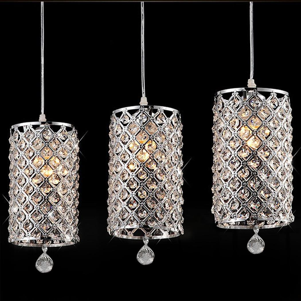 Leoneva Modern Contemporary Crystal Drops Pendant Ceiling Light Pendant Lamp Fixture Lighting Chain Chandelier Hanging Light for Hallway Bar Kitchen Dining Room Kids Room(6.24 x 13.7inch) (Clear 2)