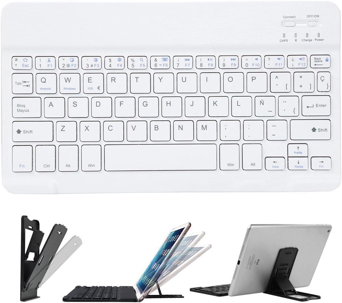 feelkaeuCoastaCloud Teclado Inalámbrico Recargable Ultra Delgado Portátil con Soporte para iOS/Android/Windows,Tabletas y Teléfonos Inteligentes (Blanco con Soporte)