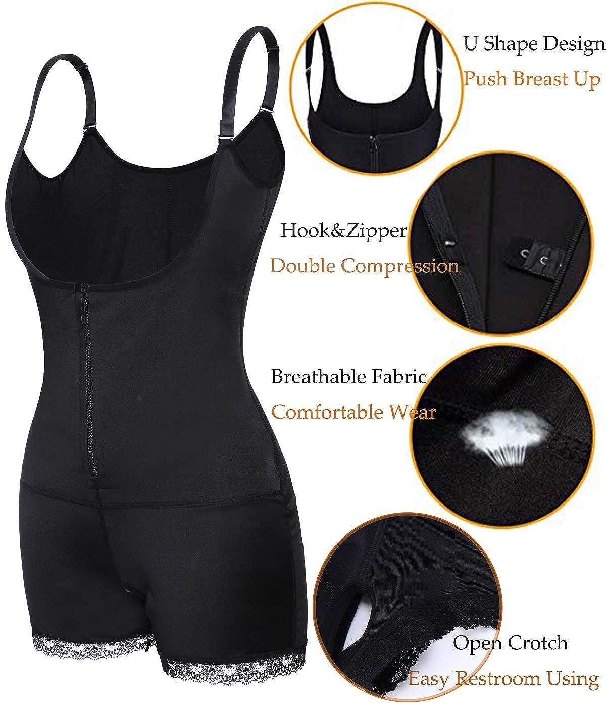 SLIMBELLE Damen Shapewear Body Figurformender Formende Shaping Bodysuit Taillenformer Unterwsche Miederbody Bauchweg Schwarz