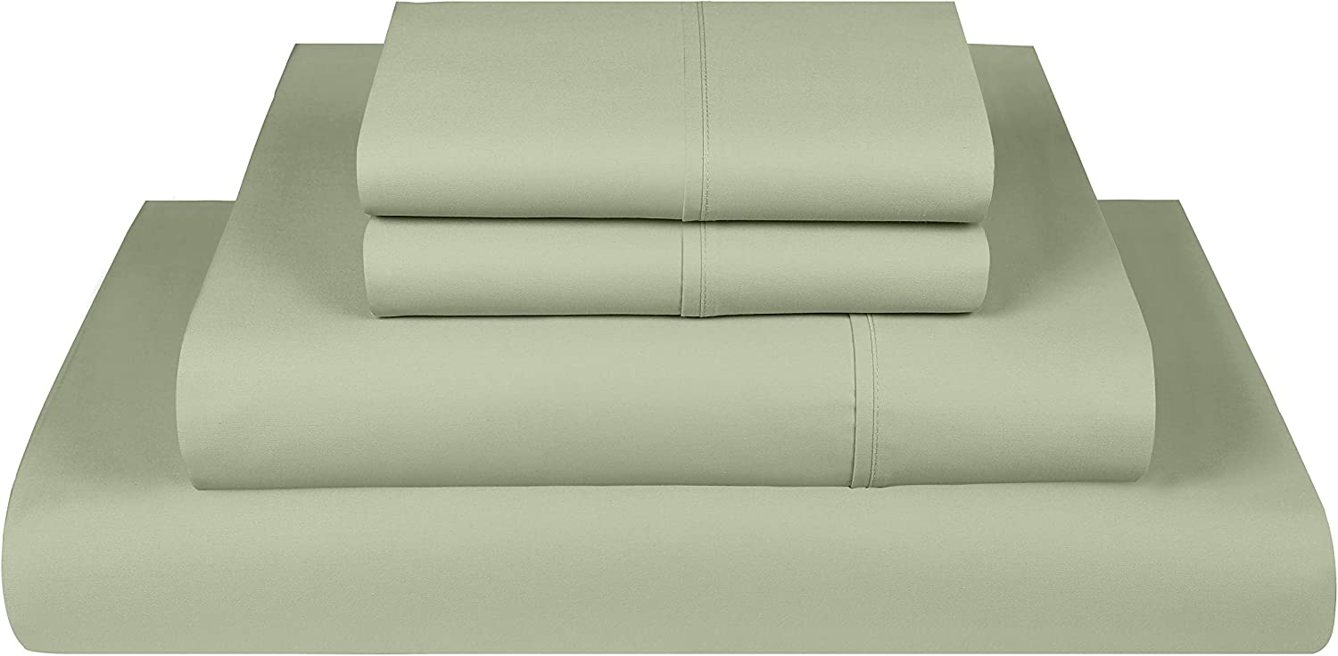 Threadmill Home Linen 400 Thread Count Bedding Collection 100% ELS Cotton Solid Sateen Sheet Set, Luxury Bedding, 4 Piece Set, Bed Sheets, Smooth Sateen Weave, Queen, Sage