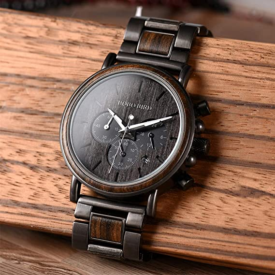 BOBO BIRD Mens Wooden Watches Business Casual Wristwatches Stylish Ebony Wood /& Stainless Steel Combined Chronograph with Gift Box Grey
