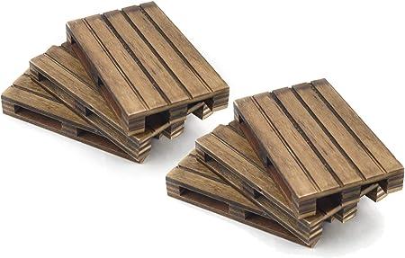 Set de 6 mini palets de madera natural de color envejecido para posavasos,♻️ Fabricado a mano en Esp