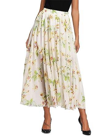 cbfad54811e Abollria Jupe Longue Femme Bohème Fleuri Élastique Fluide en Tull Plissée  Imprimé Floral Évasée Été en