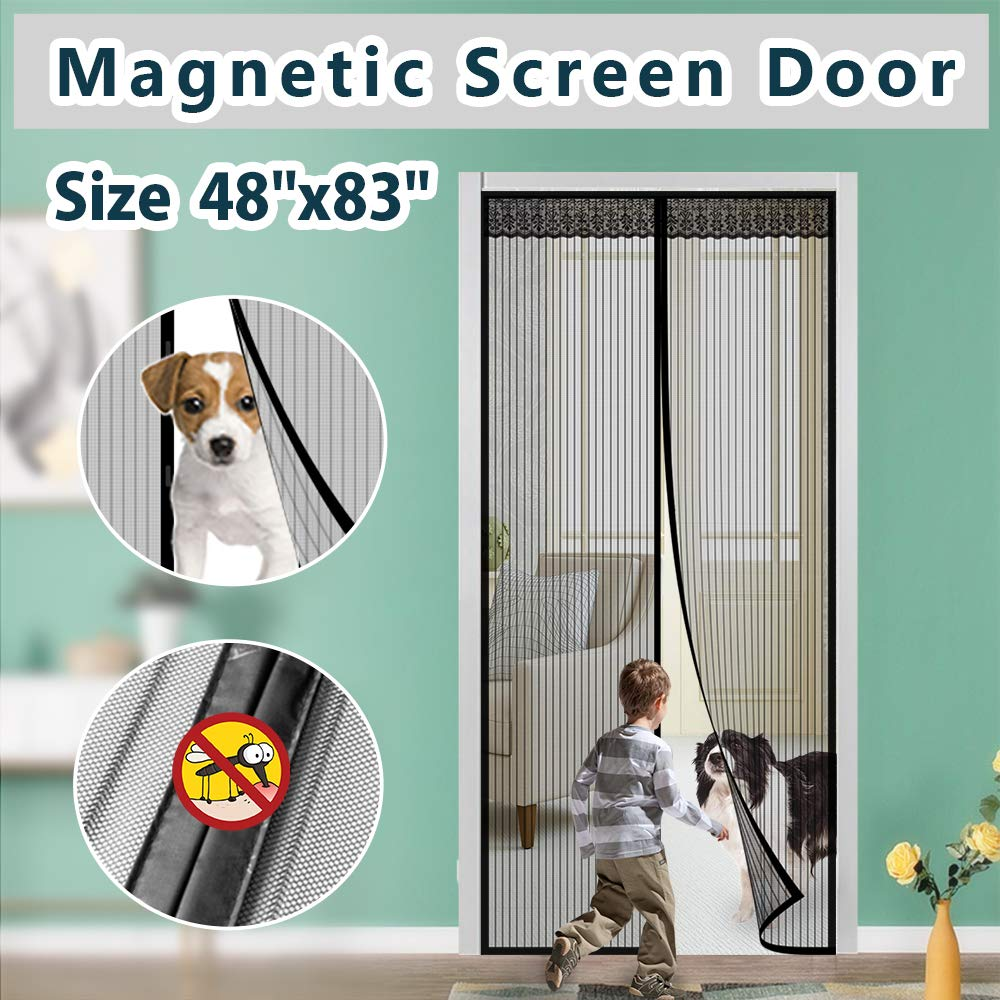 """Magnetic Screen Door IKSTAR Double Instant Mesh Curtain with Full Frame Magic Tape Mesh Door Cover for Front Door and Home Outside Kids/Pets Walk Through Easily Fit Door Size Up to 46""""x82"""" Max"""