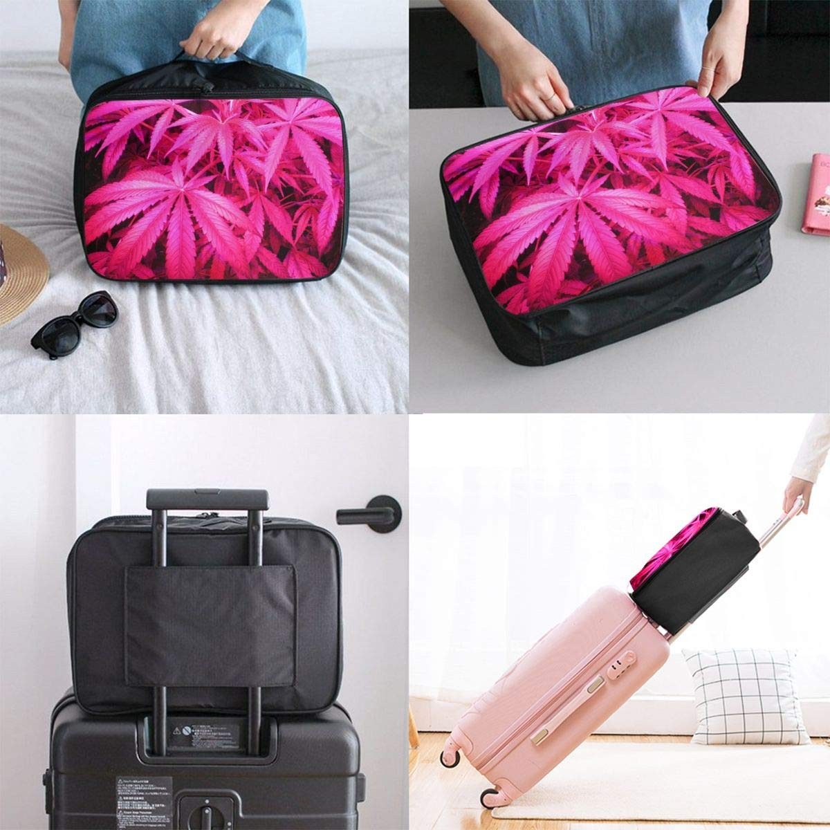 JTRVW Luggage Bags for Travel Travel Lightweight Waterproof Foldable Storage Carry Luggage Duffle Tote Bag Pink Weed Leaf