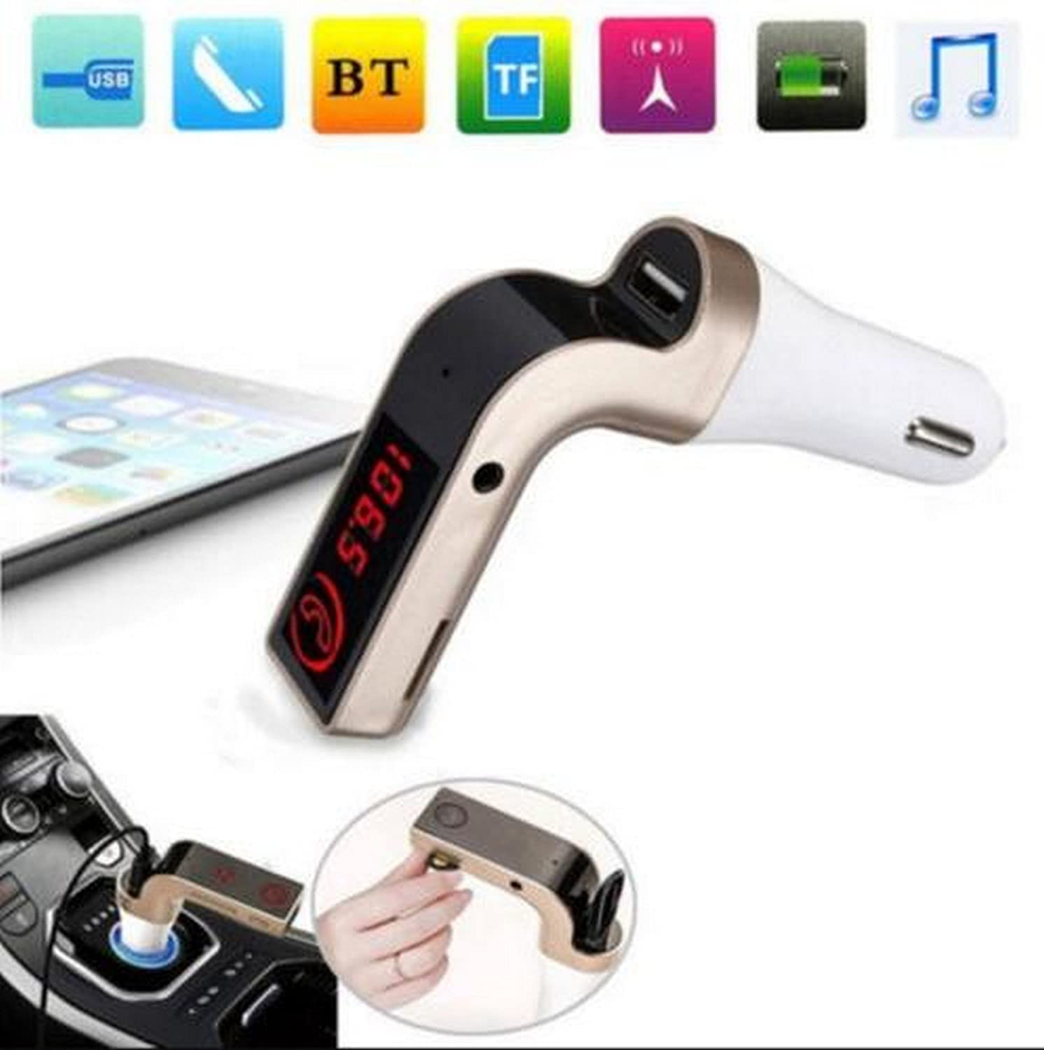 Growth best quality CARG7 LCD Bluetooth Car Charger FM: Amazon in