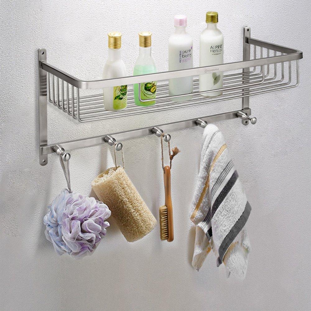 HOMEIDEAS Large Capacity Shower Caddy Stainless Steel Corner Shower Basket Bathroom Shower Shelf Organizer Rustproof,Wall Mount,Brushed Finish