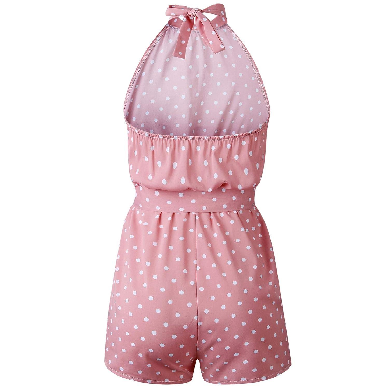 HOYMN Womens Summer Polka dot Jumpsuit Rompers Halter Neck Sleeveless Elastic Waist One Piece Short Playsuit with Pocket