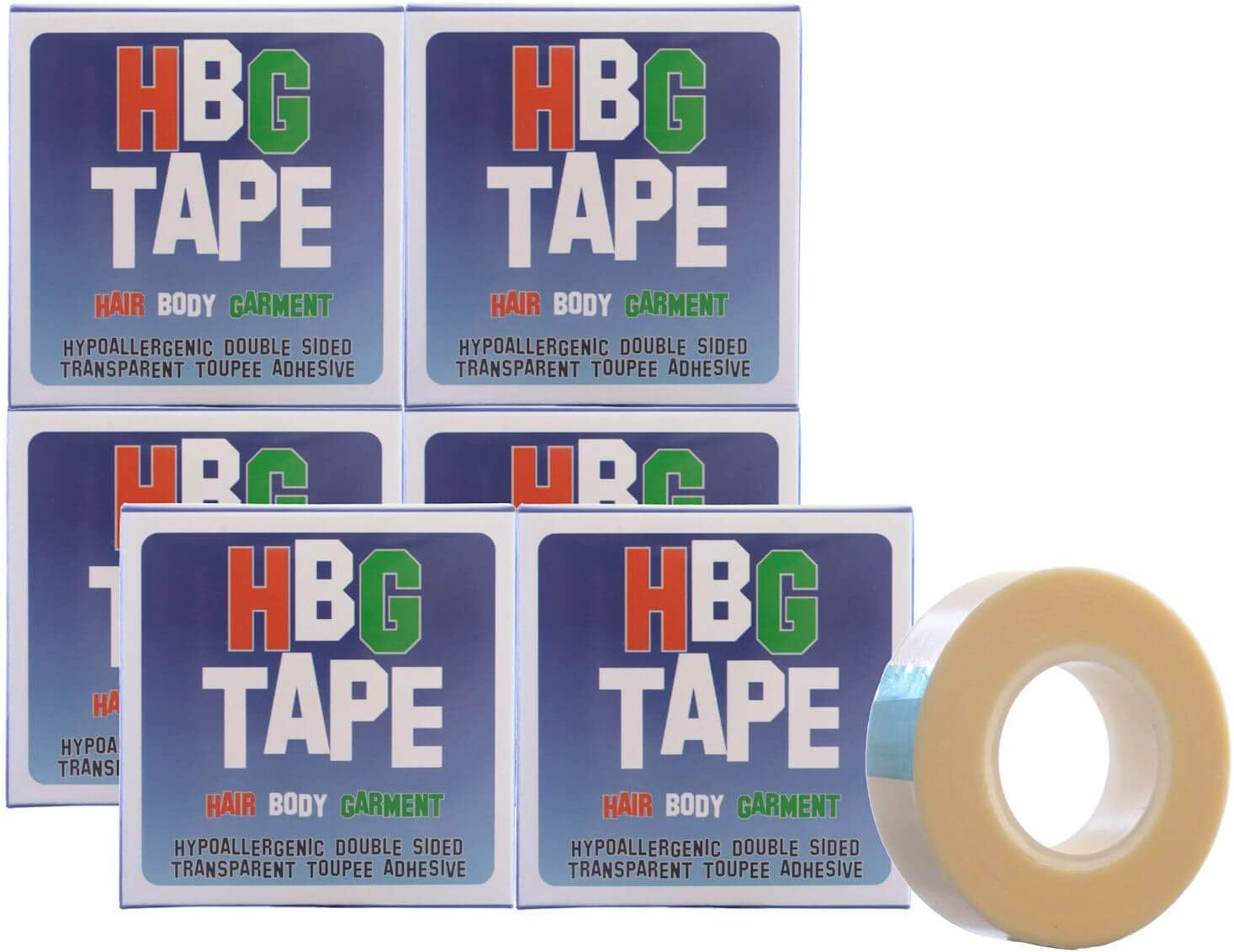 5 meters in length Bulk Value Pack 12mm HBG 6 Packs of Hypoallergenic Double Sided Transparent Toupee//Wig//Dress//Body Adhesive Tape