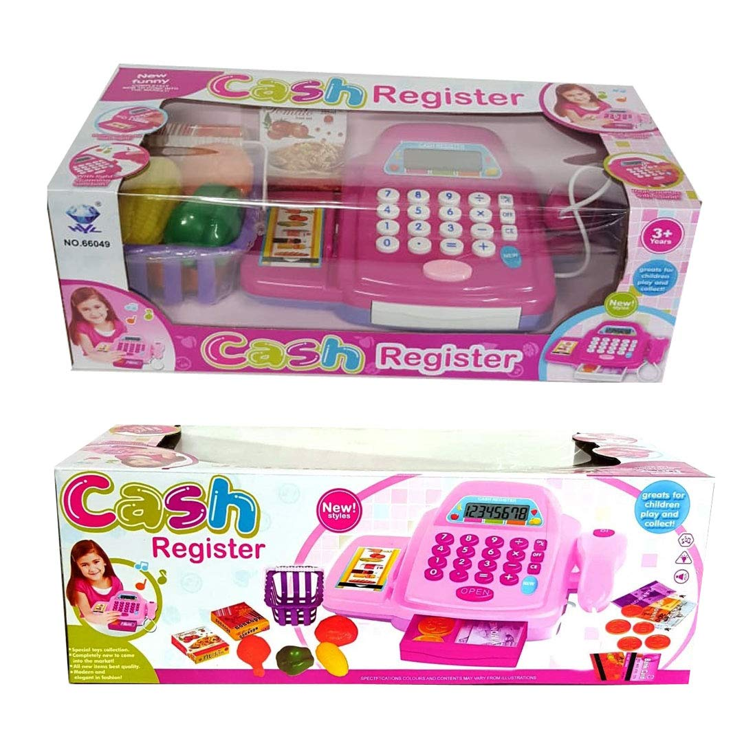 DPNY Kids Girls Pink Battery Operated Supermarket Till Cash Register Toy Pretend Play