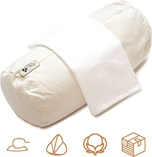 """product image for ComfyComfy Round Buckwheat Pillow for Neck Support, Small Size (14"""" x 6""""), Made with USA Grown Buckwheat Hulls and Durable Cotton Twill, Comes with Custom Percale Cotton Pillowcase"""