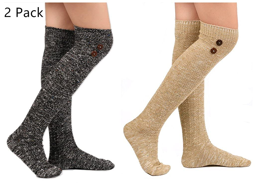 Deal Of The Week Santwo Color Block Warm Knited Lace Trim Hold-up Boot Crew Socks Winter Leg Warmer 5 Pairs YF0081
