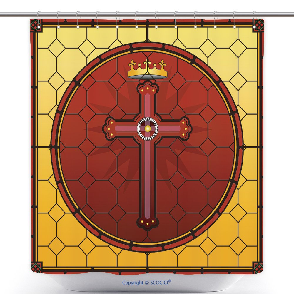Fun Shower Curtains Stained Glass Christian Cross Square Panel 163474082 Polyester Bathroom Shower Curtain Set With Hooks by