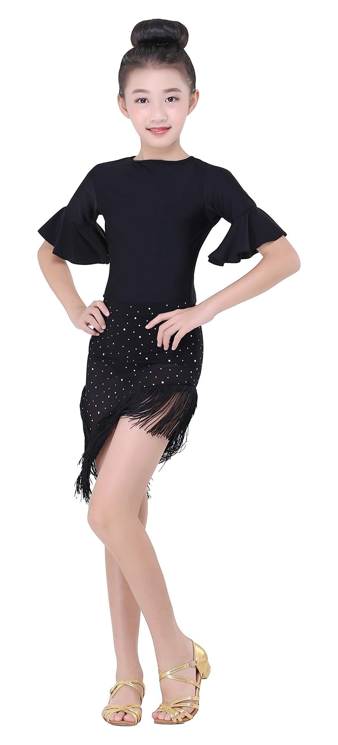 Girls' Shiny Dot Sequin Latin Salsa Smooth Practice Tassel Dance Skirt (Black, M) by JEZISYMA