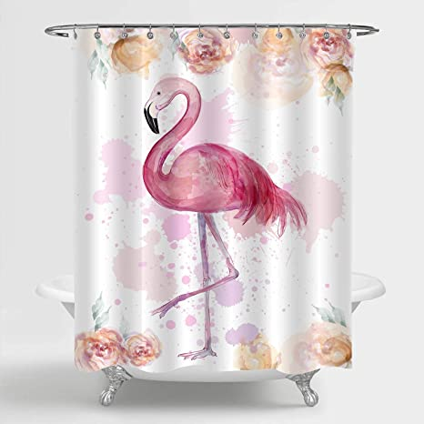 Details about  /Valentine/'s Day Pink Flamingo Tropical Leaves Shower Curtain Set Bathroom Decor
