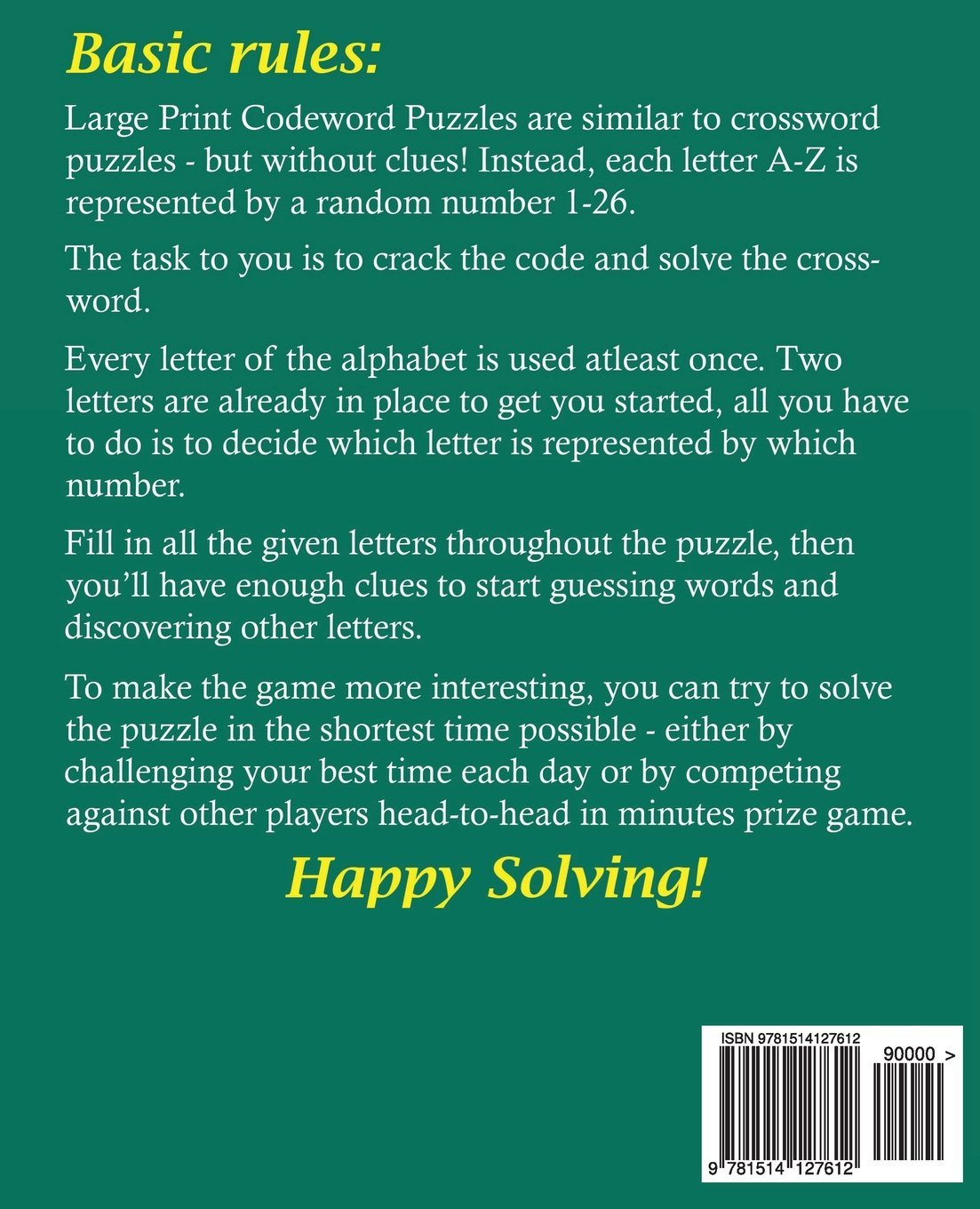 Large Print Codeword Puzzles (Volume 1): J S Lubandi: 9781514127612:  Amazon.com: Books